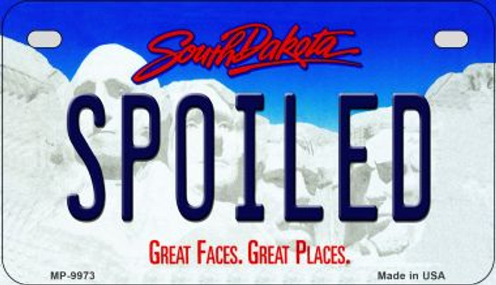 Spoiled South Dakota Novelty Metal Motorcycle Plate MP-9973