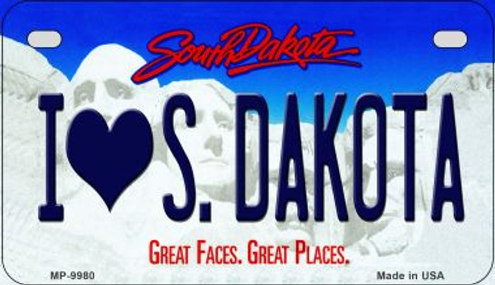 I Love South Dakota Novelty Metal Motorcycle Plate MP-9980