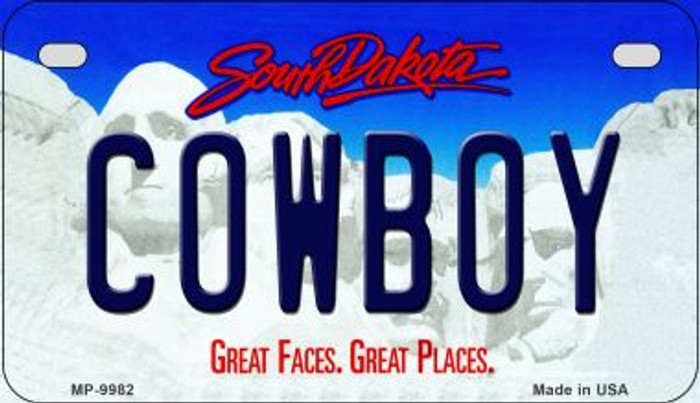 Cowboy South Dakota Novelty Metal Motorcycle Plate MP-9982