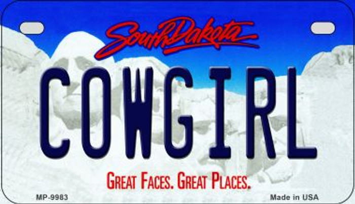 Cowgirl South Dakota Novelty Metal Motorcycle Plate MP-9983