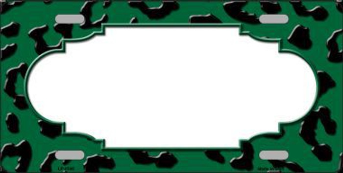 Green Black Cheetah Print With Scallop Metal Novelty License Plate LP-4546