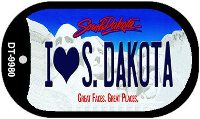 I Love South Dakota Novelty Metal Dog Tag Necklace DT-9980