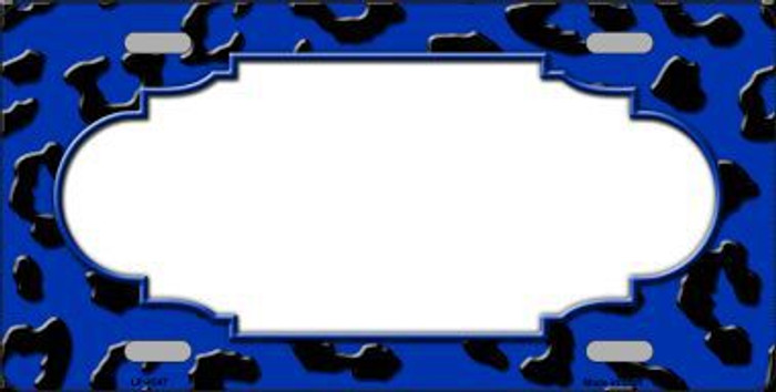 Blue Black Cheetah Print With Scallop Metal Novelty License Plate LP-4547
