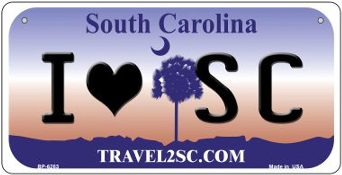 I Love SC South Carolina Novelty Metal Bicycle Plate BP-6283