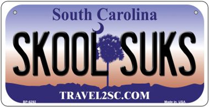 Skool Sucks South Carolina Novelty Metal Bicycle Plate BP-6292