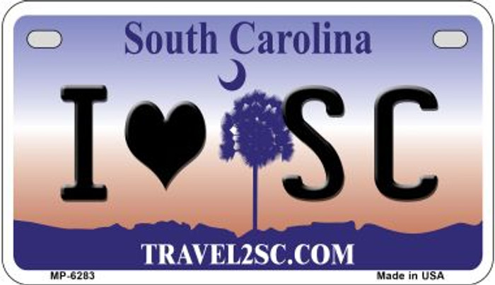 I Love SC South Carolina Novelty Metal Motorcycle Plate MP-6283