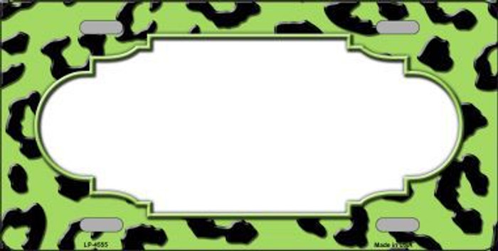 Lime Green Black Cheetah Print With Scallop Metal Novelty License Plate LP-4555