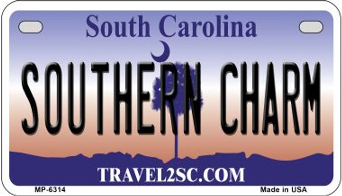 Southern Charm South Carolina Novelty Metal Motorcycle Plate MP-6314