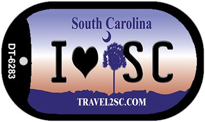I Love SC South Carolina Novelty Metal Dog Tag Necklace DT-6283