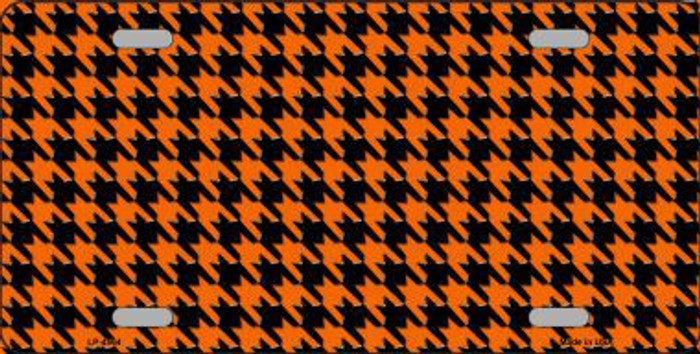 Orange Black Houndstooth Metal Novelty License Plate LP-4564