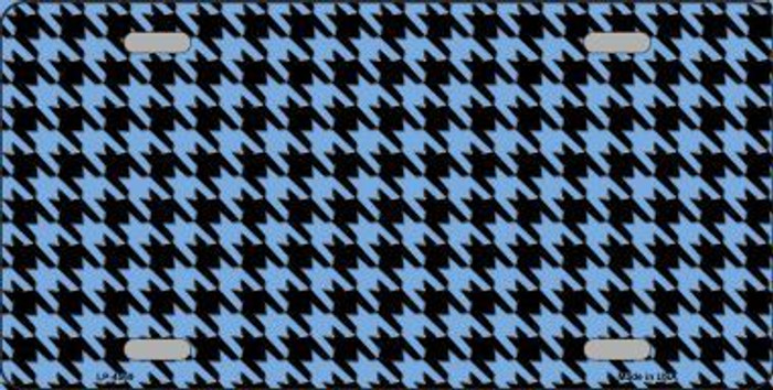 Light Blue Black Houndstooth Metal Novelty License Plate LP-4569