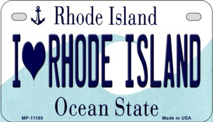 I Love Rhode Island Novelty Metal Motorcycle Plate MP-11180