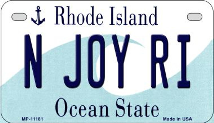 N Joy RI Rhode Island Novelty Metal Motorcycle Plate MP-11181