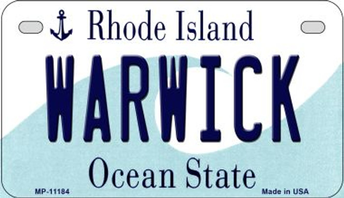 Warwick Rhode Island Novelty Metal Motorcycle Plate MP-11184