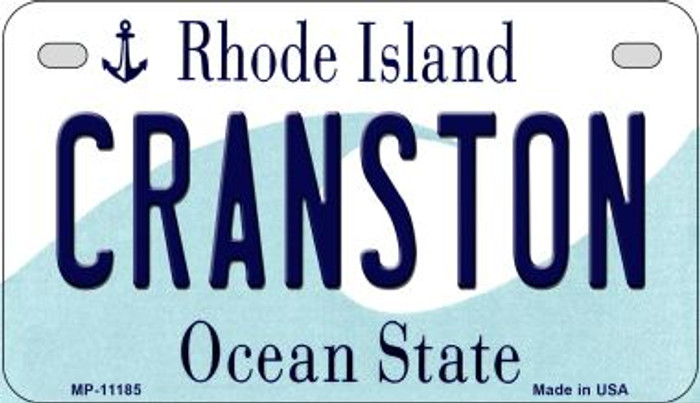 Cranston Rhode Island Novelty Metal Motorcycle Plate MP-11185