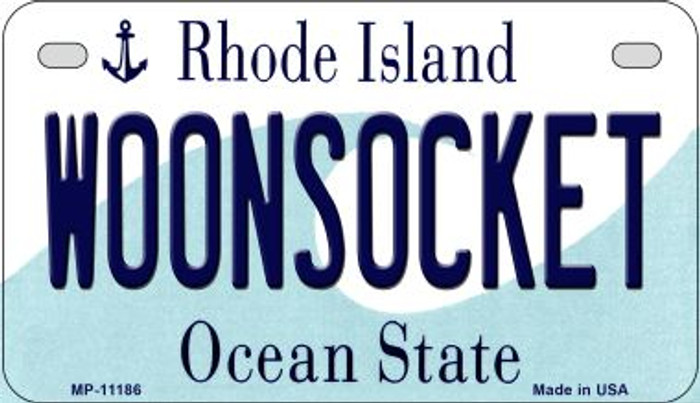 Woonsocket Rhode Island Novelty Metal Motorcycle Plate MP-11186