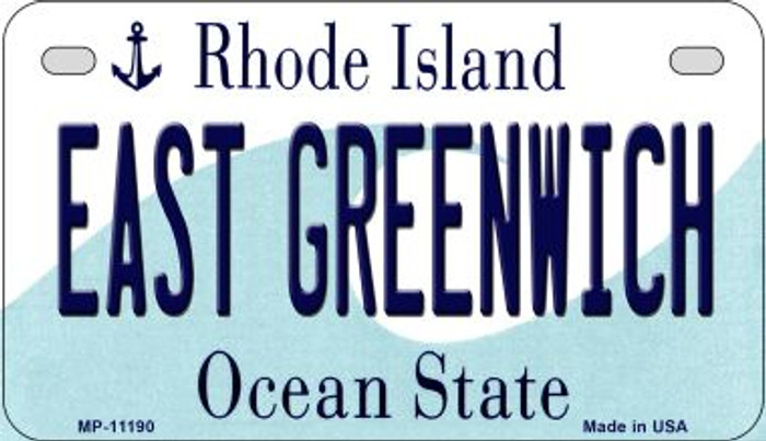East Greenwich Rhode Island Novelty Metal Motorcycle Plate MP-11190