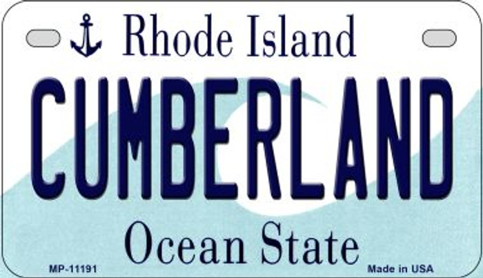 Cumberland Rhode Island Novelty Metal Motorcycle Plate MP-11191