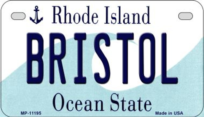 Bristol Rhode Island Novelty Metal Motorcycle Plate MP-11195