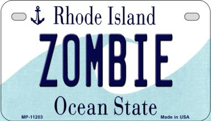 Zombie Rhode Island Novelty Metal Motorcycle Plate MP-11203
