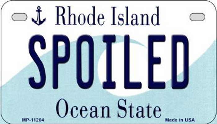 Spoiled Rhode Island Novelty Metal Motorcycle Plate MP-11204