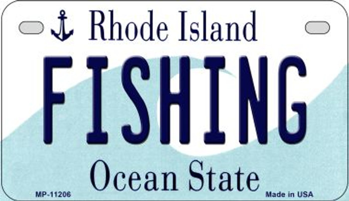 Fishing Rhode Island Novelty Metal Motorcycle Plate MP-11206