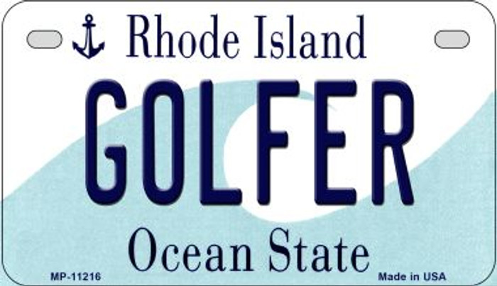 Golfer Rhode Island Novelty Metal Motorcycle Plate MP-11216