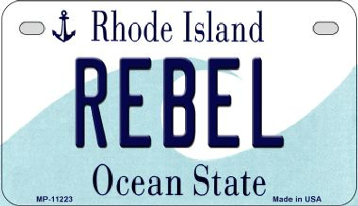 Rebel Rhode Island Novelty Metal Motorcycle Plate MP-11223