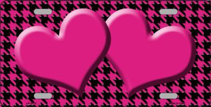 Pink Black Houndstooth With Pink Center Hearts Metal Novelty License Plate LP-4574