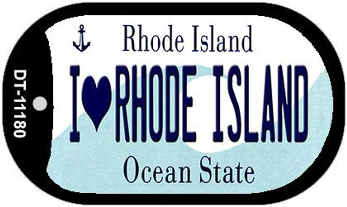 I Love Rhode Island Novelty Metal Dog Tag Necklace DT-11180