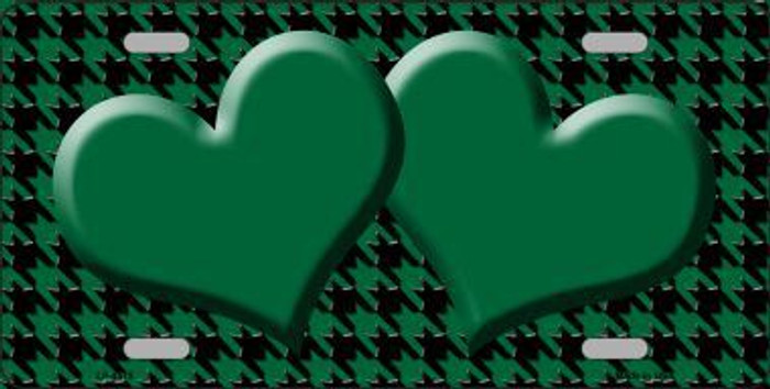 Green Black Houndstooth With Green Center Hearts Metal Novelty License Plate LP-4575