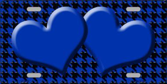 Blue Black Houndstooth With Blue Center Hearts Metal Novelty License Plate LP-4576