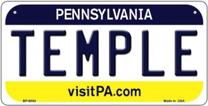 Temple Pennsylvania Novelty Metal Bicycle Plate BP-6054
