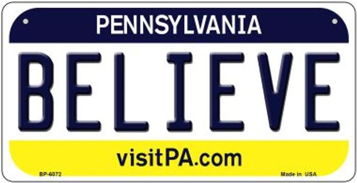 Believe Pennsylvania Novelty Metal Bicycle Plate BP-6072