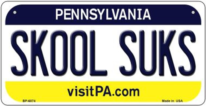 Skool Suks Pennsylvania Novelty Metal Bicycle Plate BP-6074