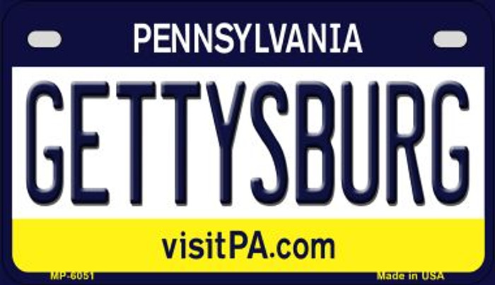 Gettysburg Pennsylvania Novelty Metal Motorcycle Plate MP-6051