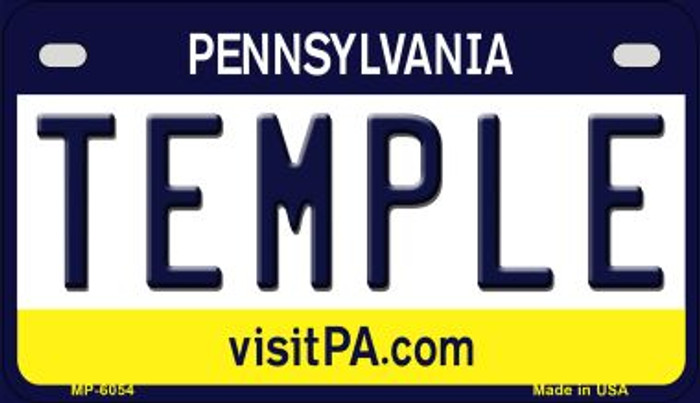 Temple Pennsylvania Novelty Metal Motorcycle Plate MP-6054