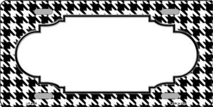 White Black Houndstooth With Scallop Center Metal Novelty License Plate LP-4588