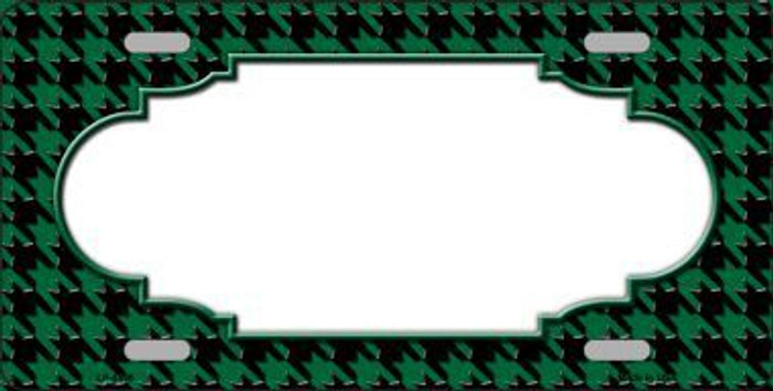 Green Black Houndstooth With Scallop Center Metal Novelty License Plate LP-4590
