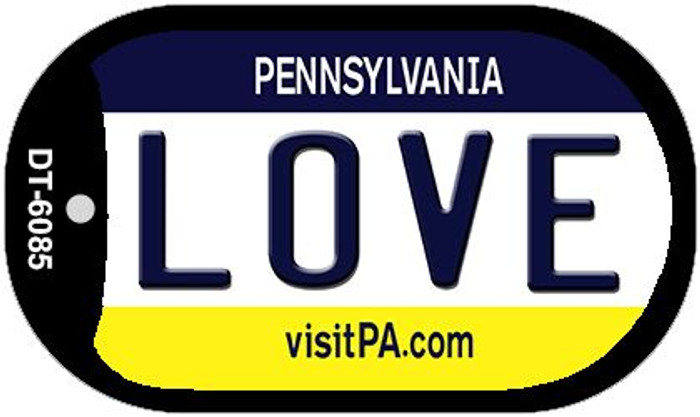 Love Pennsylvania Novelty Metal Dog Tag Necklace DT-6085