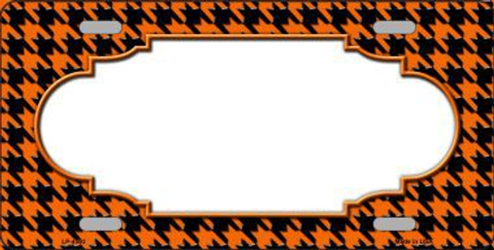 Orange Black Houndstooth With Scallop Center Metal Novelty License Plate LP-4593