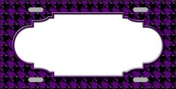 Purple Black Houndstooth With Scallop Center Metal Novelty License Plate LP-4596