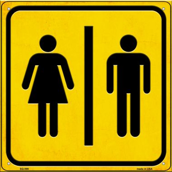 Men and Ladies Room Novelty Metal Square Sign SQ-599