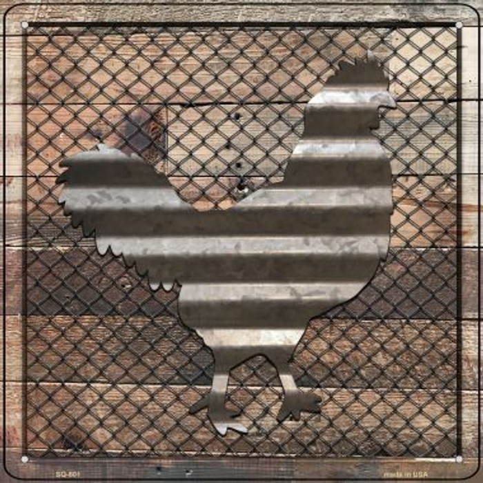 Corrugated Chicken on Wood Novelty Metal Square Sign SQ-601