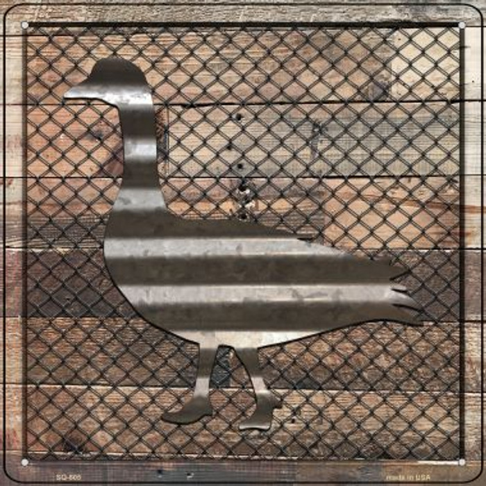 Corrugated Duck on Wood Novelty Metal Square Sign SQ-605
