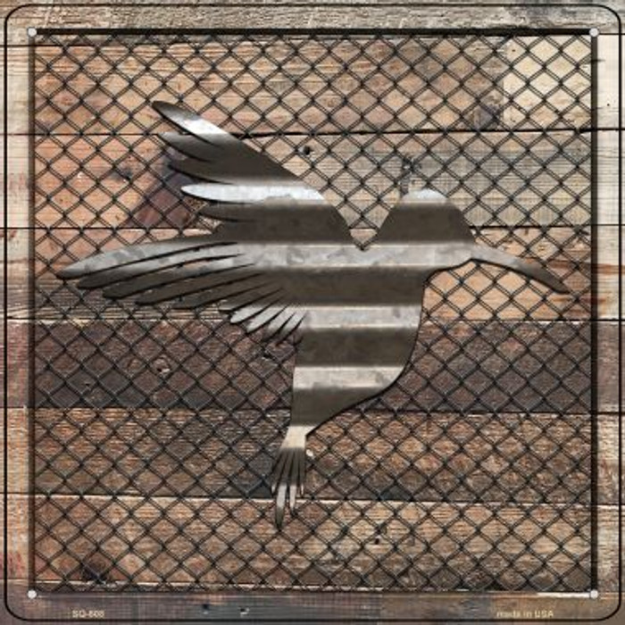 Corrugated Hummingbird on Wood Novelty Metal Square Sign SQ-608