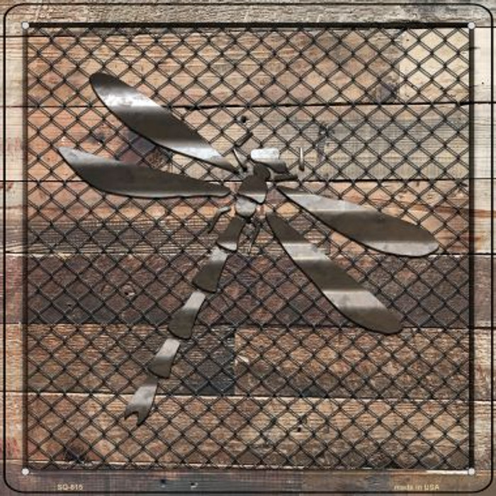 Corrugated Dragonfly on Wood Novelty Metal Square Sign SQ-615