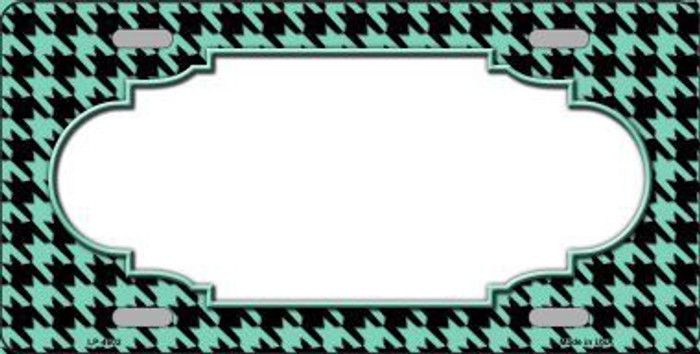 Mint Black Houndstooth With Scallop Center Metal Novelty License Plate LP-4602