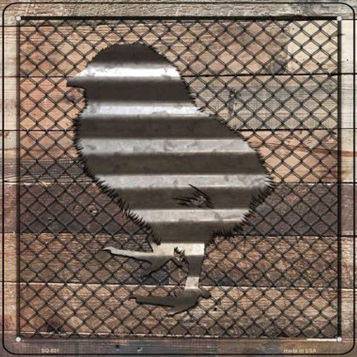 Corrugated Chick on Wood Novelty Metal Square Sign SQ-631