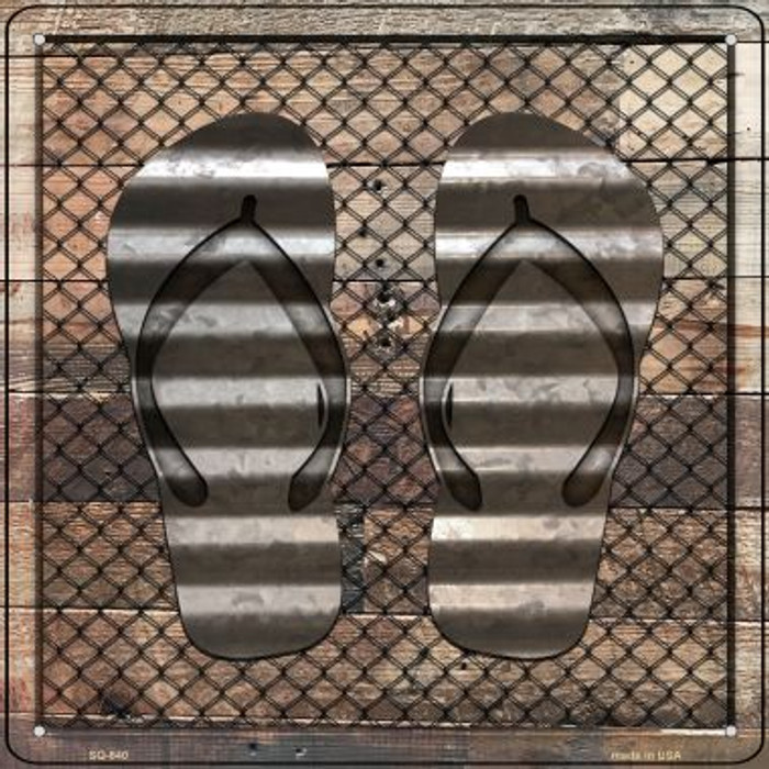 Corrugated Flip Flops on Wood Novelty Metal Square Sign SQ-640